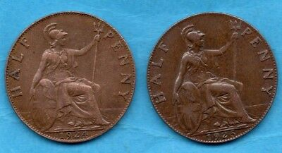 1924 & 1925 KING GEORGE V HALFPENNY COINS. 2 X 1/2d IN LOVELY CONDITION.