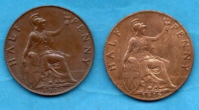 1913 & 1916 KING GEORGE V HALFPENNY COINS. 2 X 1/2d IN LOVELY CONDITION.