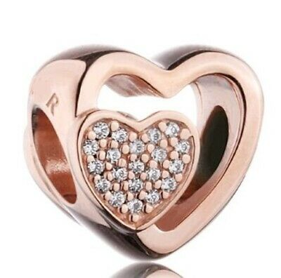 CLEAR CZ HEARTS JOINED TOGETHER  ROSE GOLD Plated European Charm Bead