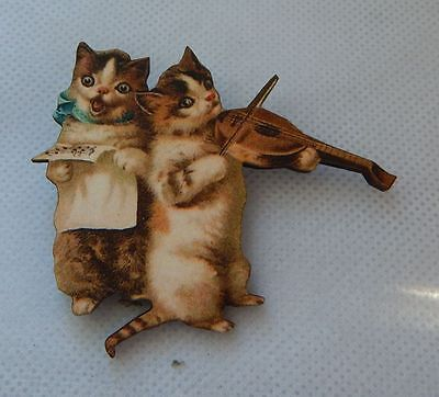 Vintage Style Cat Fiddlers Brooch or Scarf Pin Wood Accessories NEW Multi-Color