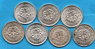 1937 - 1943 COLLECTION. 7 x SILVER THREEPENCE COINS. GEORGE VI DATE RUN