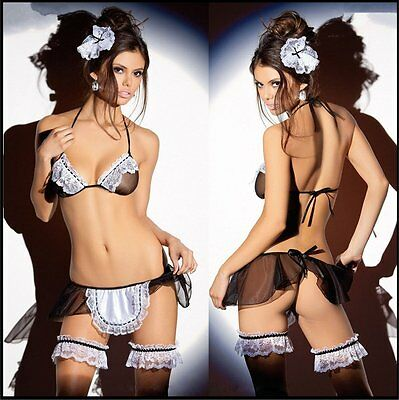 Sexy Erotic French Maid / Waitress Outfit Babydoll Kinky Lingerie Fetsih - (262)