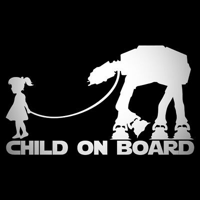 Child On Board Car Window Vinyl Decal Sticker Banksy Star Wars Girl Van Any Colr