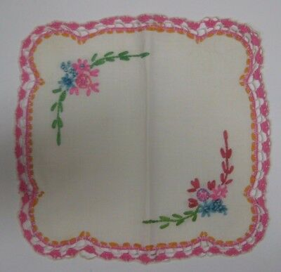"""Vintage Hand Embroidered 9"""" Square Table Doily Cover Scarf Lovely Crocheted Edge"""
