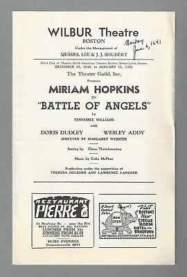 """Tennessee Williams (Debut) """"BATTLE OF ANGELS"""" Miriam Hopkins 1940 FLOP Playbill"""