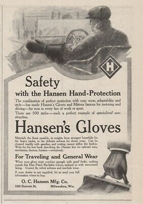 1913 O.C. Hansen Manufacturing Co Milwaukee WI Driving Gloves Mittens Print Ad