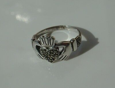 Vtg 925 Sterling Silver Marcasite Irish Claddagh Ring Size 7 1/2