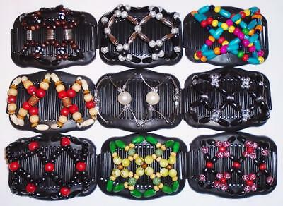 """Double Hair Combs, Angel Wings Clips 4x3.5"""", African Butterfly Style,Quality S65"""