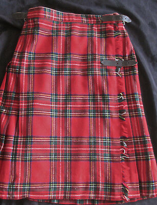 vintage girls tartan plaid skirt made in England, stitched down pleats+buckles