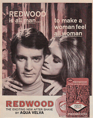 1968 Redwood After Shave: All Man to Make a Woman Feel (30110) Print Ad