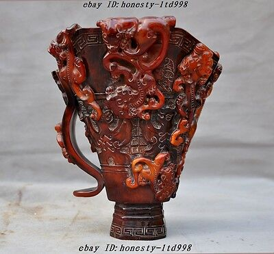 Marked China Old Ox Horn ancient dragon beast statue wineglass cup Wine vessel