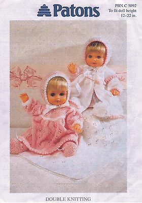 """COPY_Vintage Dolls Clothes Knitting Pattern. Patons. 12-22"""" Doll. 8 ply yarn"""