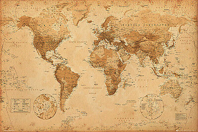World Map Antique Style Educational Maps Maxi Poster Print 61x91.5cm   24x36 in
