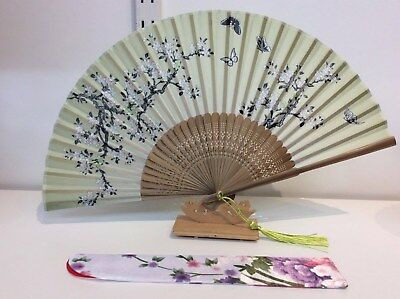 Japanese Silk Hand Fan-Cherry Blossom and Butterfly w Silk Fan Holder- F009-010