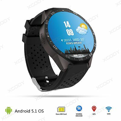 KW88 Android 5.1 3G Bluetooth Smart Watch Quad Core 4GB WIFI GPS Camera For iOS