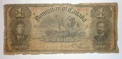 Dominion of Canada 1898 One Dollar $1 Bank Note Lumberjacks