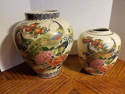 Vintage Satsuma Sanford Vase PEACOCK Lot of 2 Vases