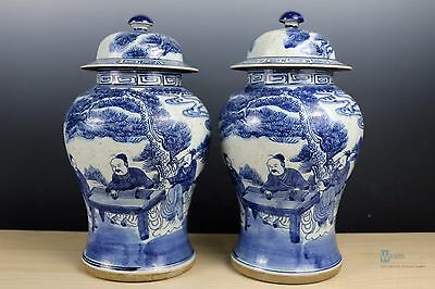Beautiful Fine Chinese A pair Blue and white porcelain character Pot