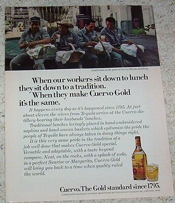 1978 ad page - Jose Cuervo Tequila - La Rojena distillery workers lunch PRINT AD