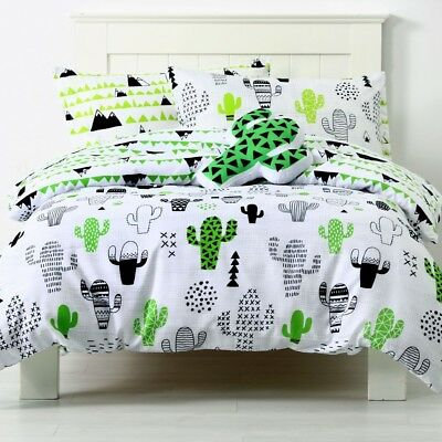 NEW Ombre Blu Cactus Geometric Quilt Cover Set By Spotlight