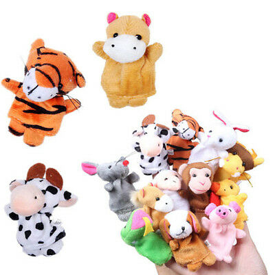12Pcs Family Finger Puppets Cloth Doll Baby Kids Educational Hand Animal Toys