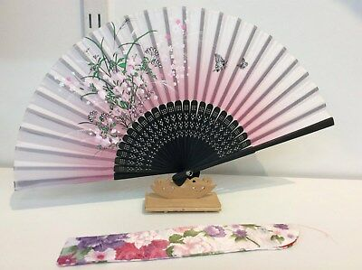 Japanese Silk Hand Fan-Floral and Butterfly w Silk Fan Holder- F019