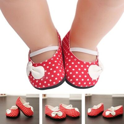 Pair of Red Flats Sneakers Strap Shoes Fit 43cm Zapf Baby Born Doll Outfit