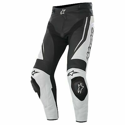 NEW Alpinestars Track Leather Pants - Black/White from Moto Heaven
