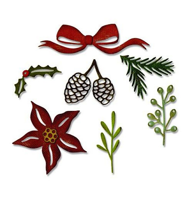 Sizzix Thinlits Die Set 9PK Festive Greens 662425 Tim Holtz