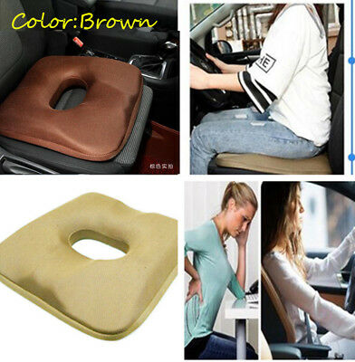 Comfortable Khaki Memory Foam Car Seat Cover Cushion Protect Lower Back Spinal