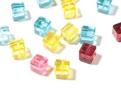 Lot (15) 8mm Czech rare antique mixed color faceted cube glass beads Swarovski