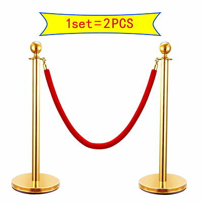 2PCS Velvet Rope Stanchion Silver/Gold Post Crowd Control Queue Line Barrier