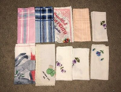 Ladies Hankerchief X 10 Vintage