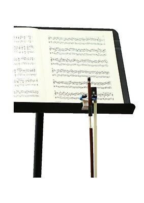 Plastic clip on violin viola cello bow holder fits metal music stands USA made