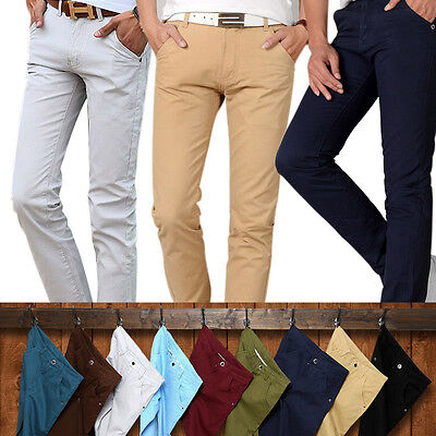 AU Men's Casual Chino Pants Cotton Straight Business Solid Color Trousers Slacks