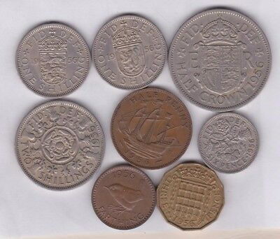 1956 Elizabeth Ii Set Of 8 Coins In Good Fine Or Better Condition
