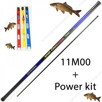 Set canne a peche carpe / carpodrome / esturgeon / 11M carbone + power kit + lig