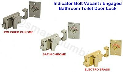 Chrome/ Brass/ Satin Indicator Bolt Vacant / Engaged Bathroom Toilet Door Lock