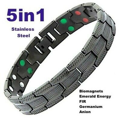 5in1 ALLERGY FREE STAINLESS STEEL MAGNETIC ENERGY BRACELET-STRESS & PAIN RELIEF