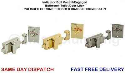 Indicator Bolt Vacant/Engaged Bathroom Toilet Door Lock CHROME/BRASS/SATIN *NEW*