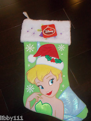Disney Tinkerbell Embroidered Holiday Stocking New