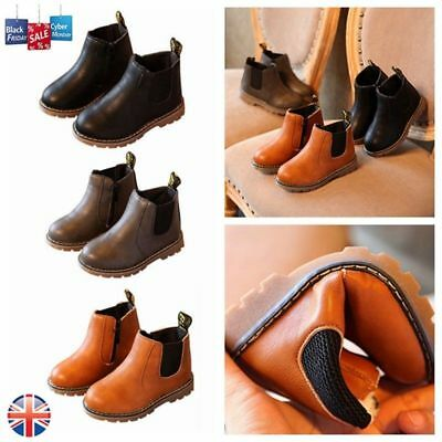 Kids Boys Girl Autumn Winter Chelsea Ankle Boots Infant Faux Leather Shoes Size