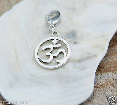 Detailed Symbol of OM silver tone pewter charm  Clip On Charm Zipper Pull  New