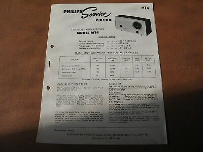 Philips Service Note Model MT4
