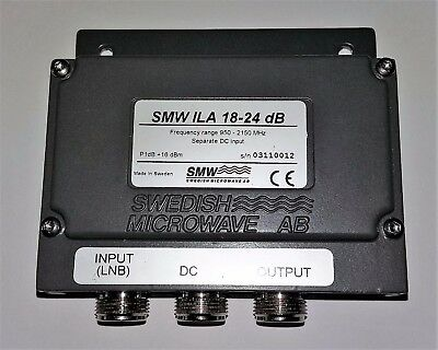 Low noise amplifier 950 - 2150 MHz. 18 - 24 dB. (Swedish Microwave AB)