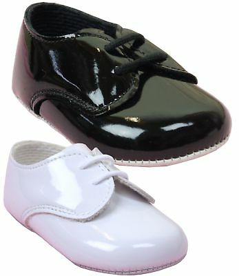BabyPrem Baby Boys Patent BayPods Pram Shoes White Black Wedding Christening