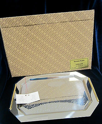 Inoxbeck Stainless Steel Serving Tray w/ Gold Plated Handles- 14 in. -Italy- NIB