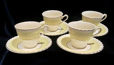 Vintage J & G Meakin Sol Demitasse Espresso Cups & Saucers (4) - Yellow Band