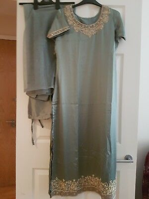 Grey Satin Indian Suit With Gold Embroidery