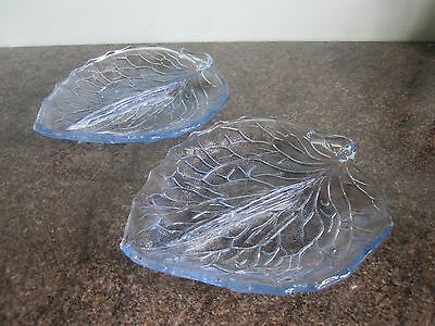 Bagley - Pressed Glass - Leaf Dishes - Pale Blue - Set of Two